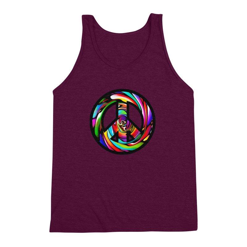 Rainbow Peace Swirl Men's Triblend Tank by Allison Low Art