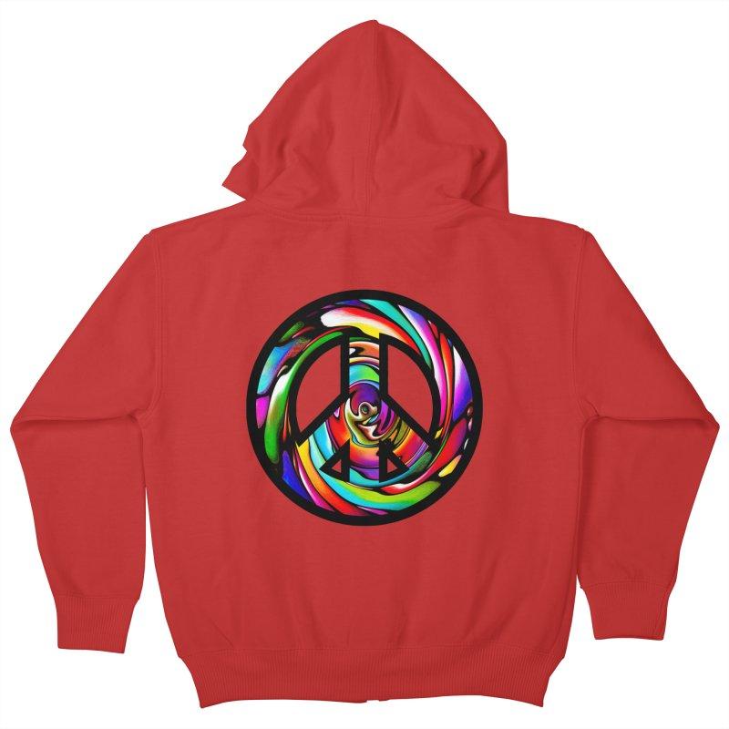 Rainbow Peace Swirl Kids Zip-Up Hoody by Allison Low Art