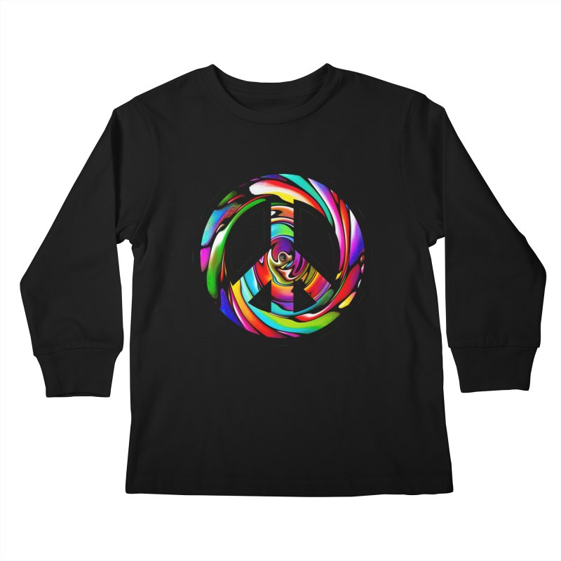 Rainbow Peace Swirl Kids Longsleeve T-Shirt by Allison Low Art