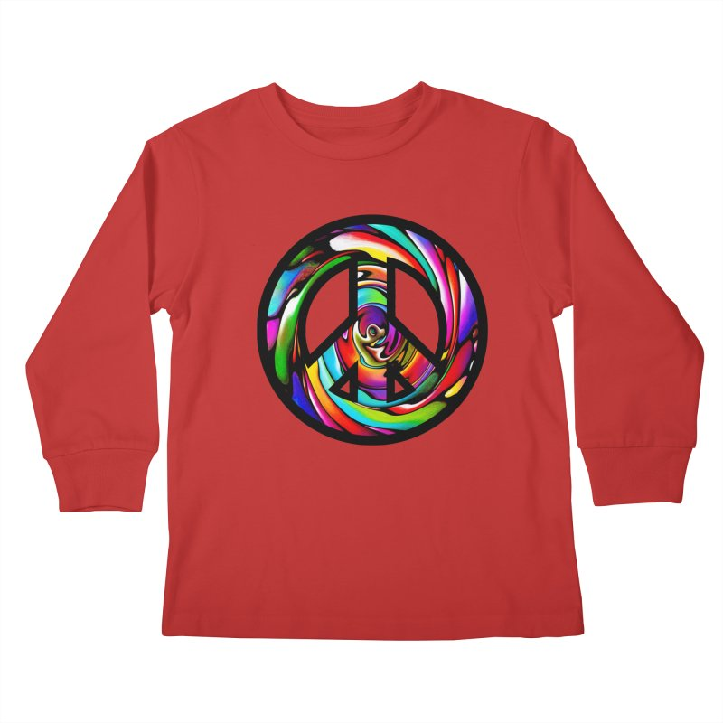 Rainbow Peace Swirl Kids Longsleeve T-Shirt by Allison Low Art