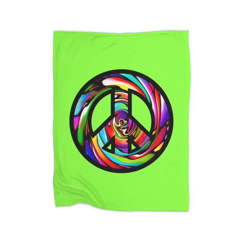 Rainbow Peace Swirl Home Blanket by Allison Low Art
