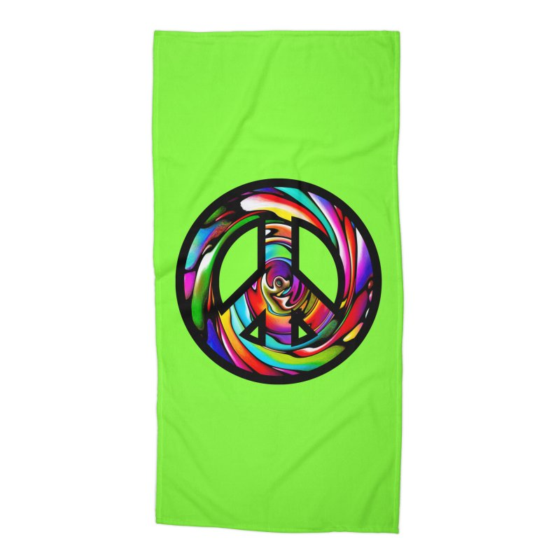 Rainbow Peace Swirl Accessories Beach Towel by Allison Low Art