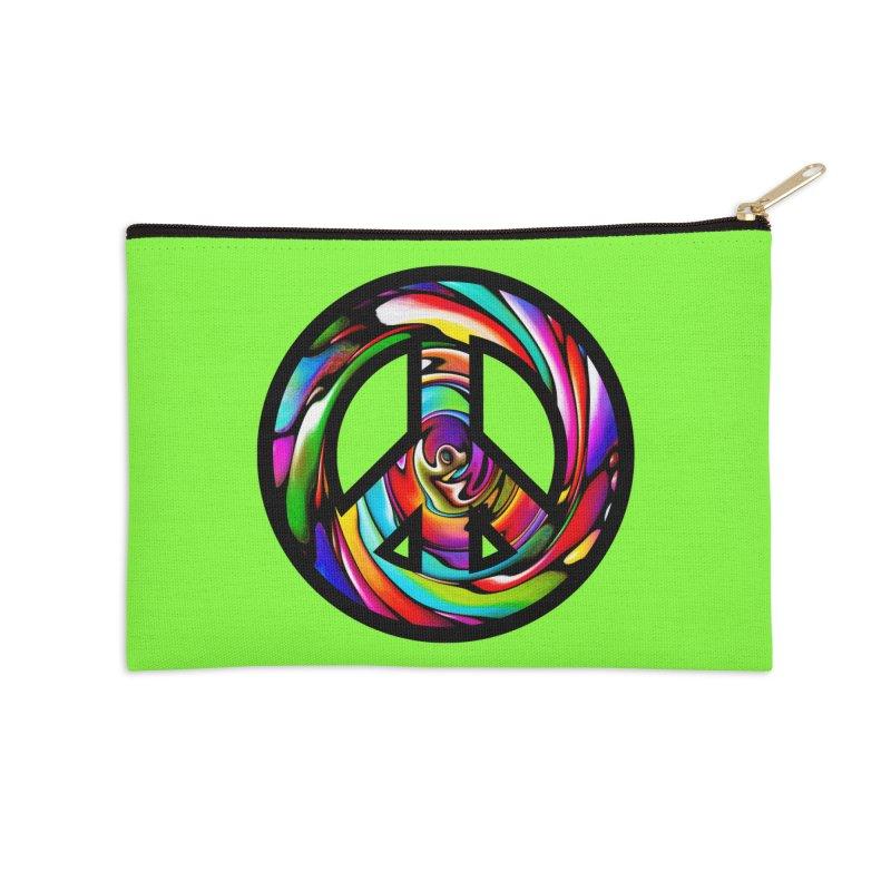 Rainbow Peace Swirl Accessories Zip Pouch by Allison Low Art