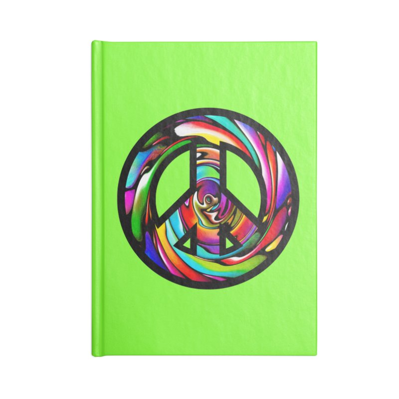Rainbow Peace Swirl Accessories Notebook by Allison Low Art