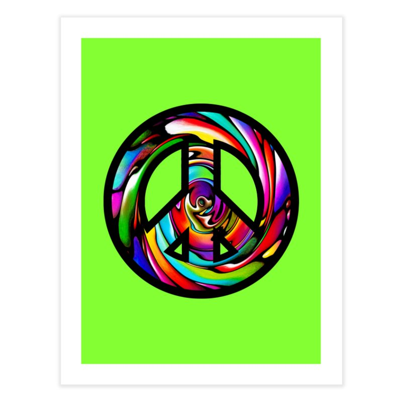 Rainbow Peace Swirl Home Fine Art Print by Allison Low Art