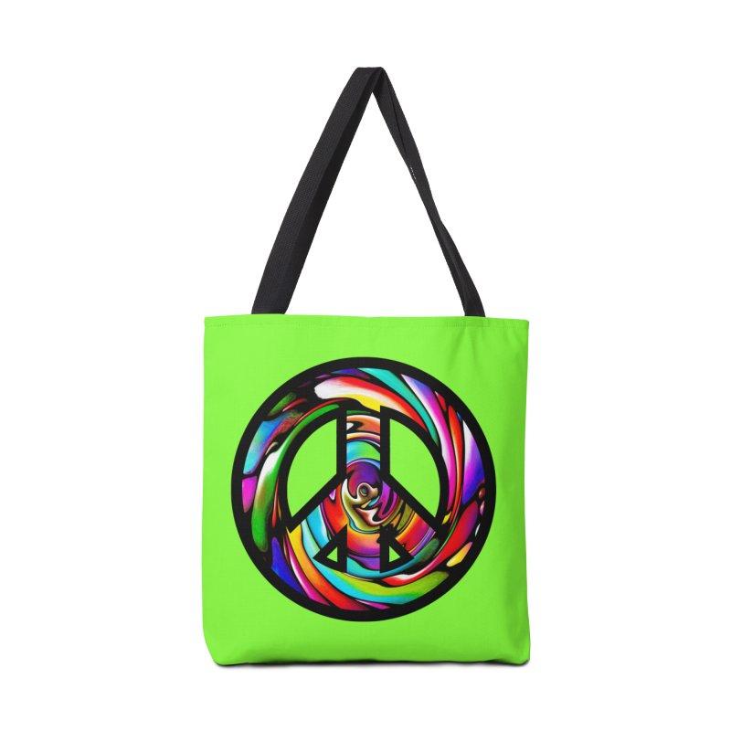 Rainbow Peace Swirl Accessories Bag by Allison Low Art