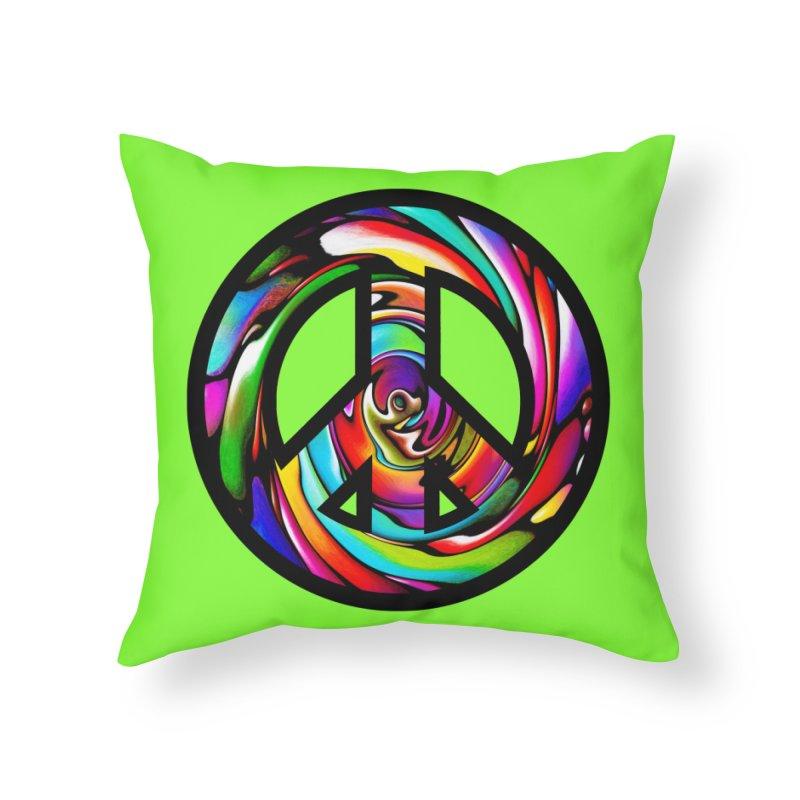 Rainbow Peace Swirl Home Throw Pillow by Allison Low Art