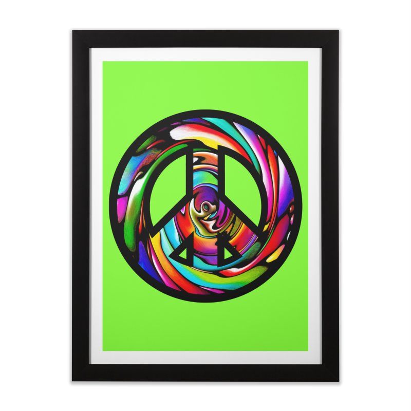 Rainbow Peace Swirl Home Framed Fine Art Print by Allison Low Art