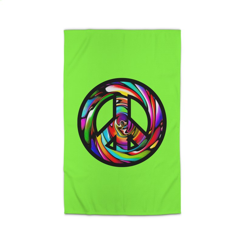 Rainbow Peace Swirl Home Rug by Allison Low Art