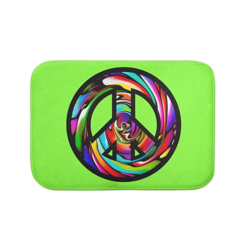 Rainbow Peace Swirl Home Bath Mat by Allison Low Art