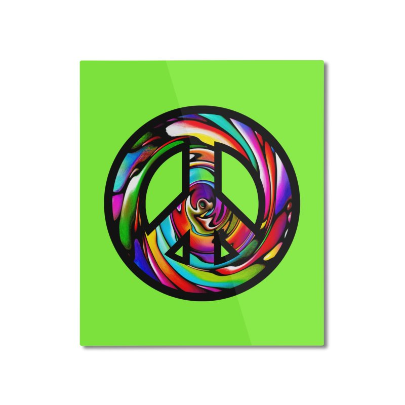 Rainbow Peace Swirl Home Mounted Aluminum Print by Allison Low Art