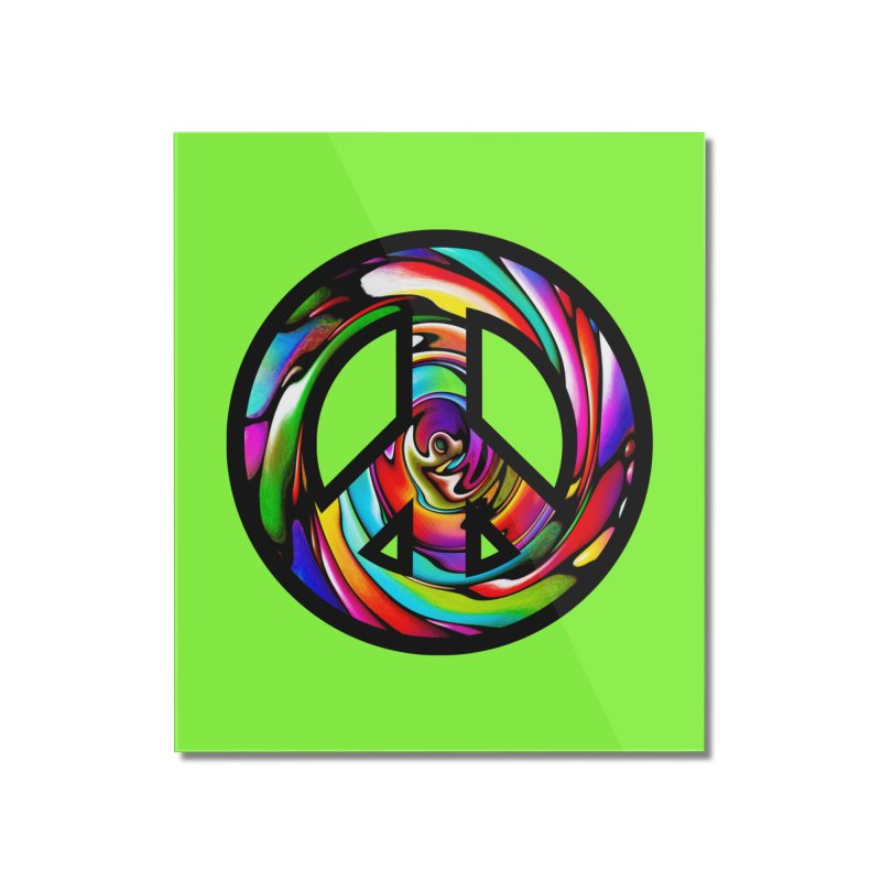 Rainbow Peace Swirl Home Mounted Acrylic Print by Allison Low Art