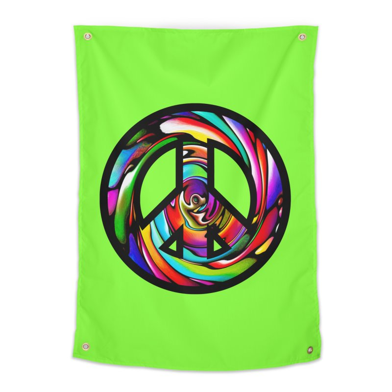 Rainbow Peace Swirl Home Tapestry by Allison Low Art