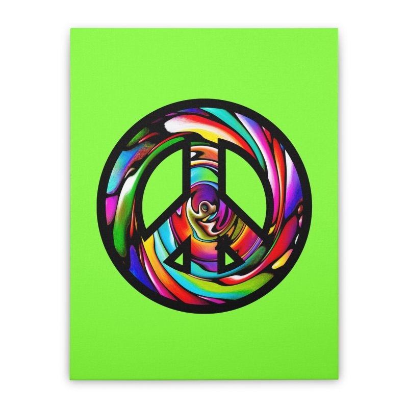 Rainbow Peace Swirl Home Stretched Canvas by Allison Low Art