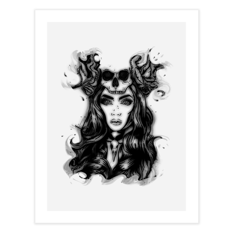 Skull Girl Home Fine Art Print by Allison Low Art