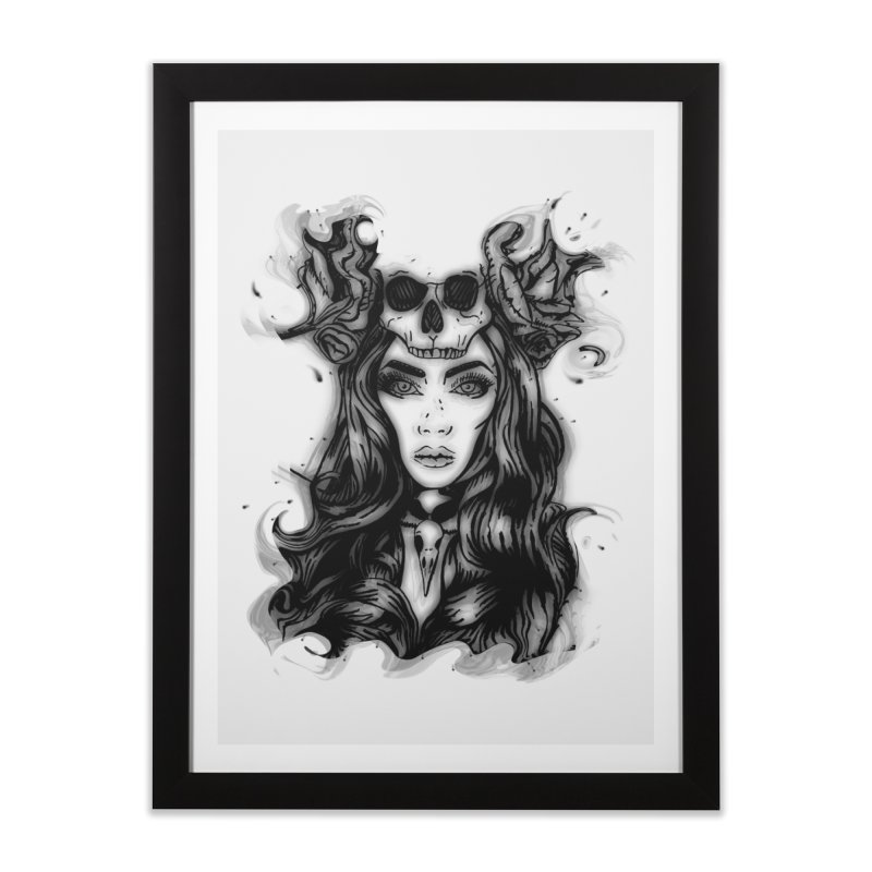 Skull Girl Home Framed Fine Art Print by Allison Low Art