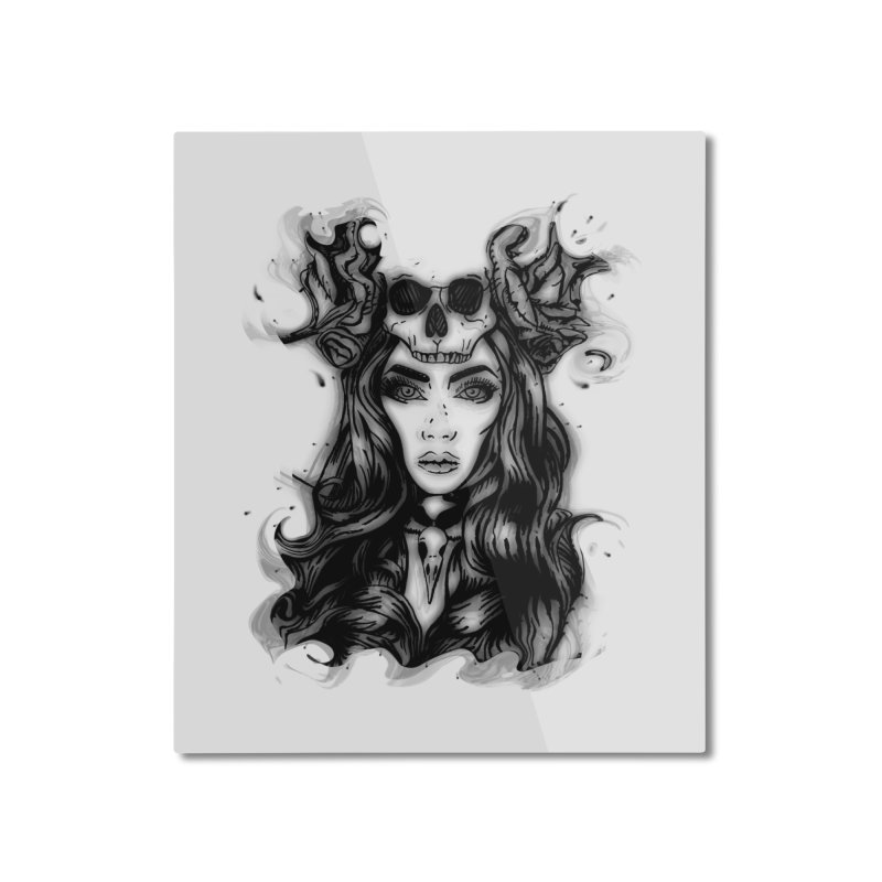 Skull Girl Home Mounted Aluminum Print by Allison Low Art