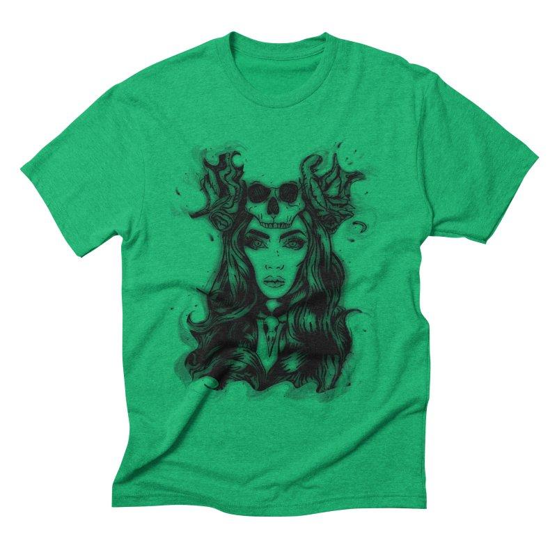 Skull Girl Men's Triblend T-shirt by Allison Low Art