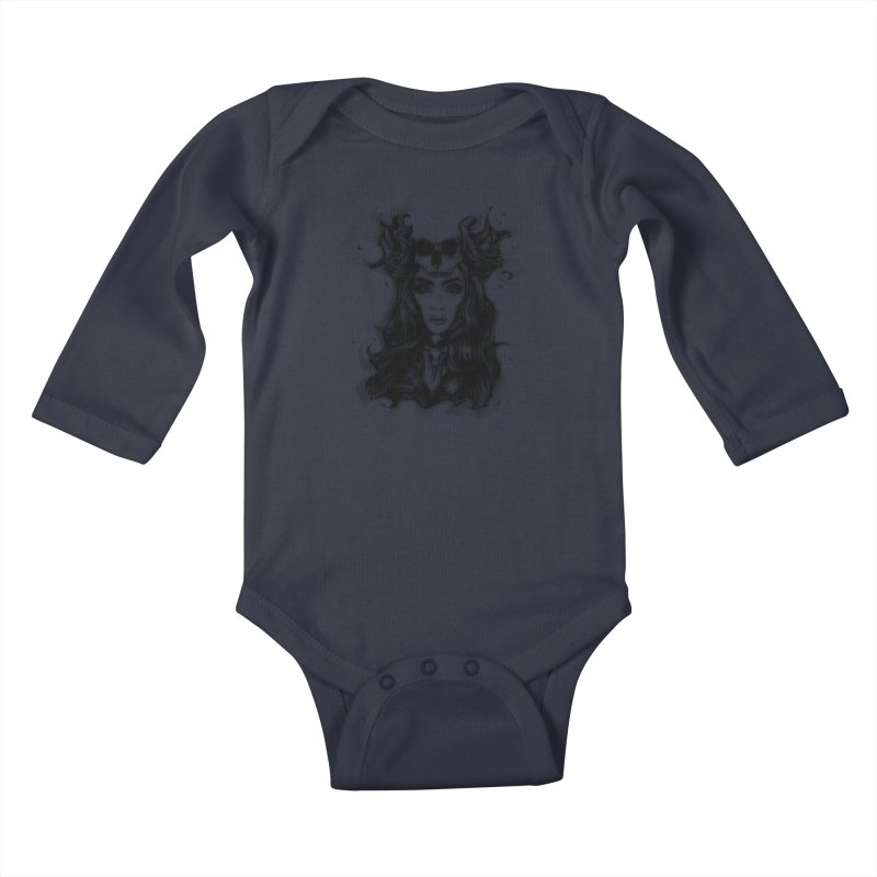 Skull Girl Kids Baby Longsleeve Bodysuit by Allison Low Art