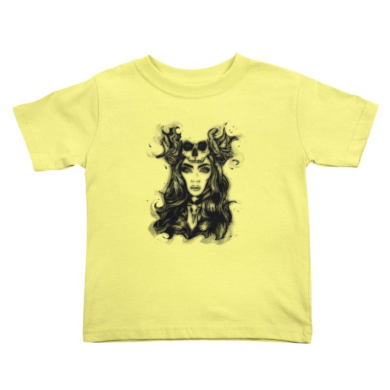 Skull Girl Kids Toddler T-Shirt by Allison Low Art