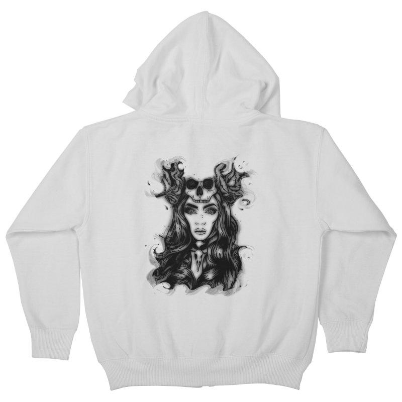 Skull Girl Kids Zip-Up Hoody by Allison Low Art