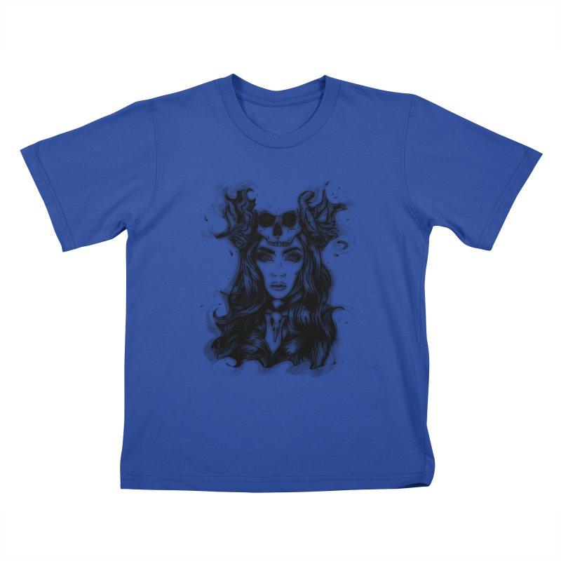 Skull Girl Kids T-shirt by Allison Low Art