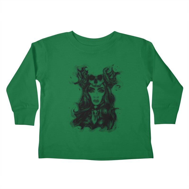 Skull Girl Kids Toddler Longsleeve T-Shirt by Allison Low Art