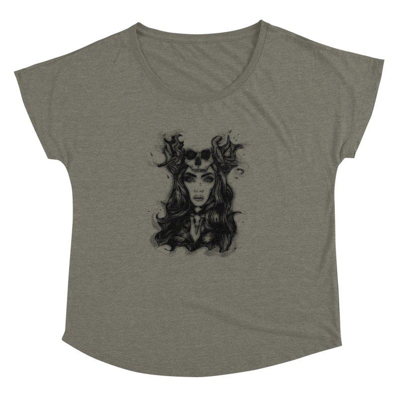 Skull Girl Women's Dolman Scoop Neck by Allison Low Art
