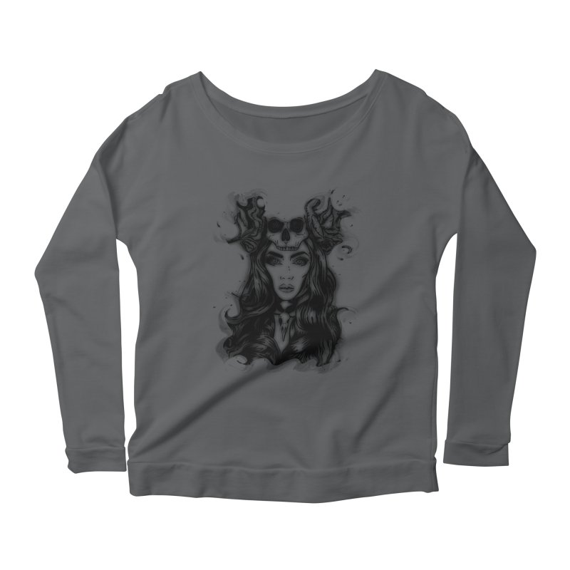 Skull Girl Women's Longsleeve Scoopneck  by Allison Low Art