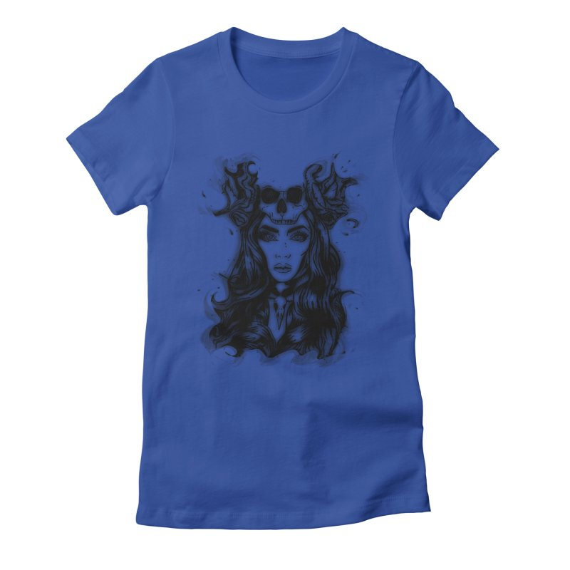 Skull Girl Women's Fitted T-Shirt by Allison Low Art