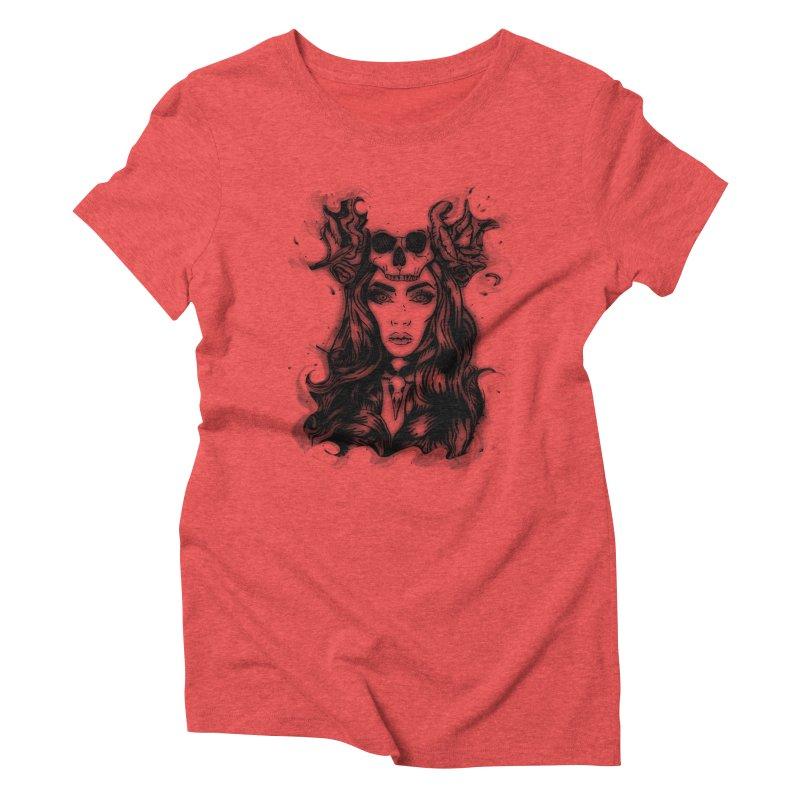 Skull Girl Women's Triblend T-shirt by Allison Low Art