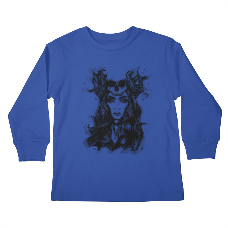 Skull Girl Kids Longsleeve T-Shirt by Allison Low Art