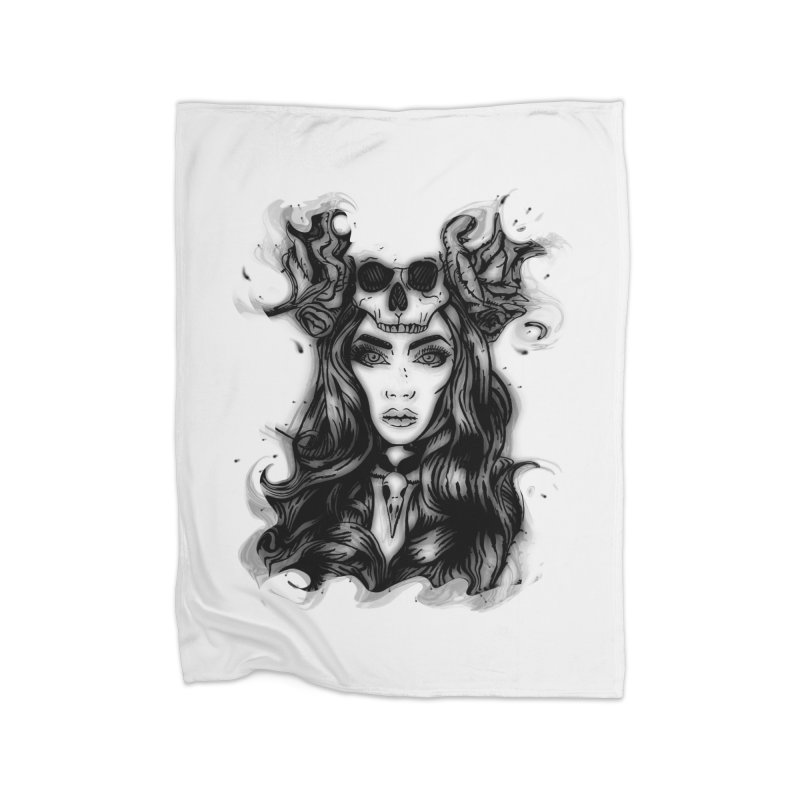 Skull Girl Home Blanket by Allison Low Art