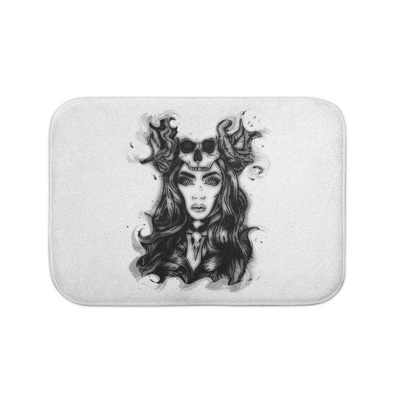 Skull Girl Home Bath Mat by Allison Low Art