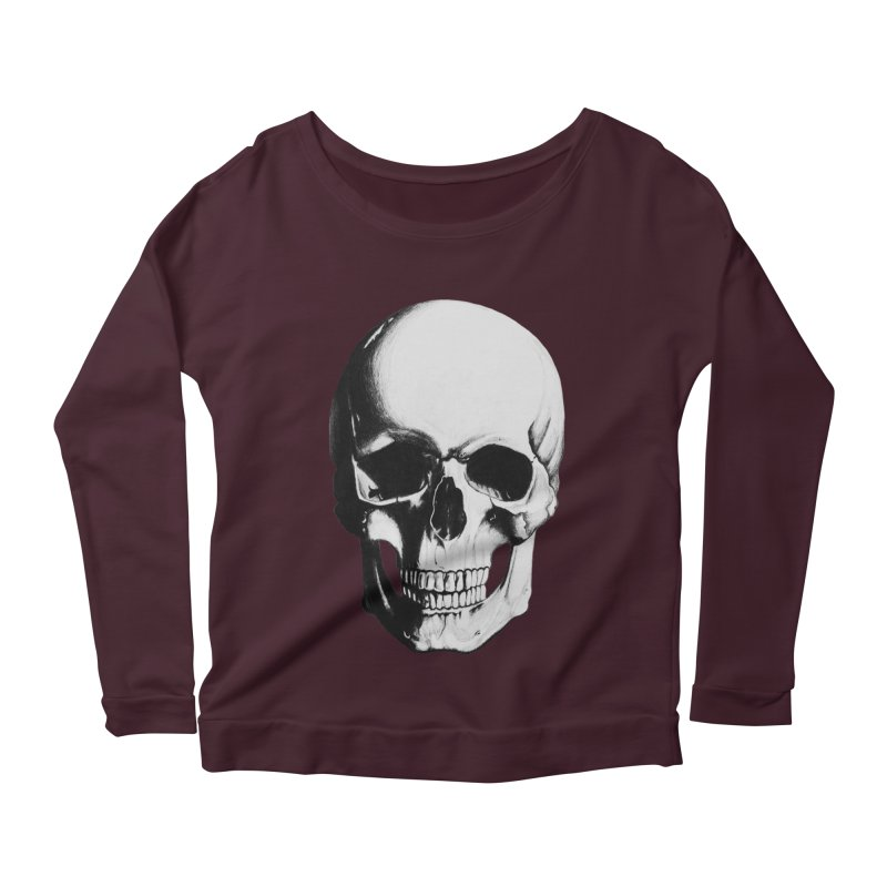 Skull Women's Longsleeve Scoopneck  by Allison Low Art