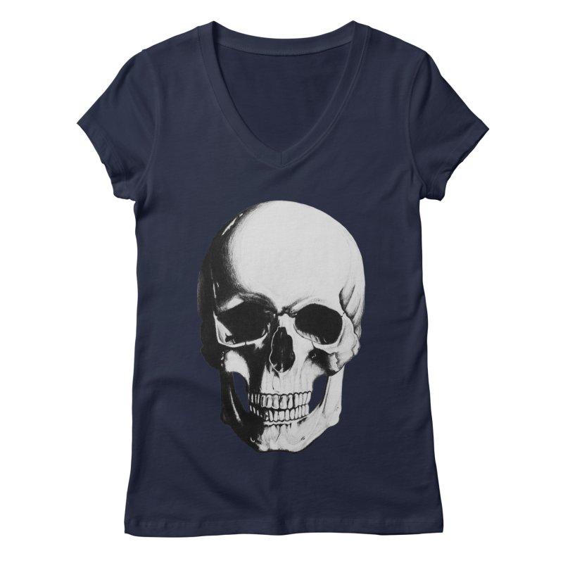 Skull Women's V-Neck by Allison Low Art