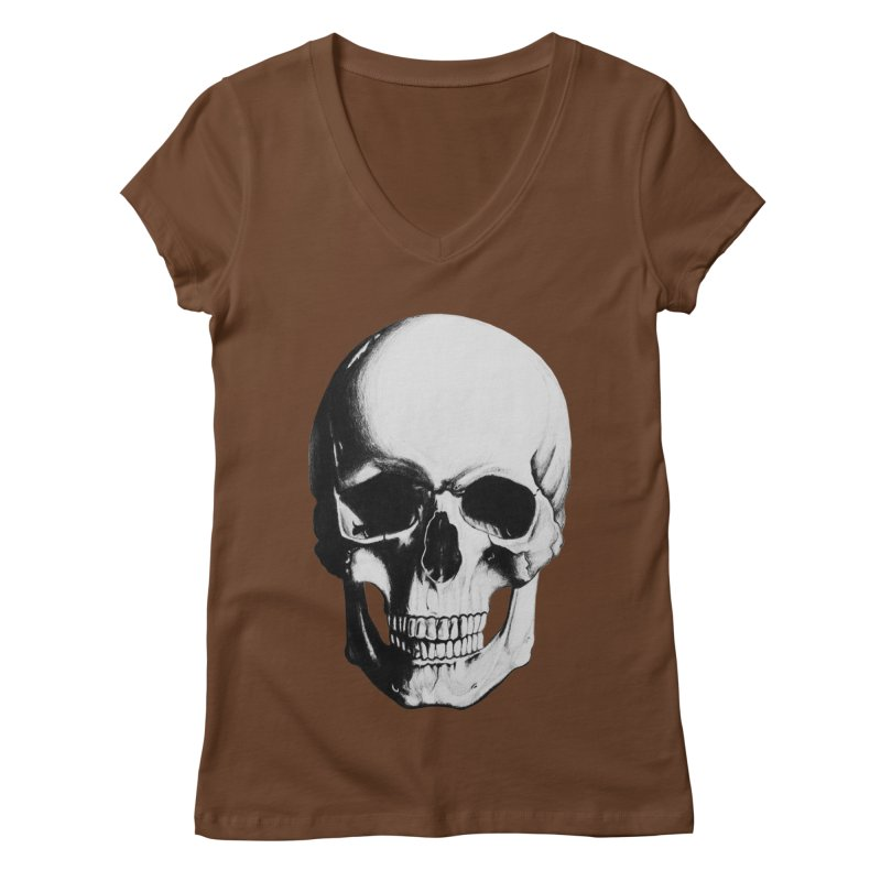 Skull Women's V-Neck by Allison Low Art