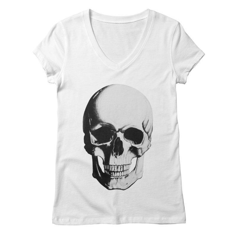 Skull Women's Regular V-Neck by Allison Low Art