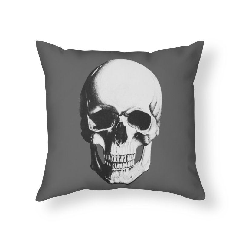 Skull Home Throw Pillow by Allison Low Art