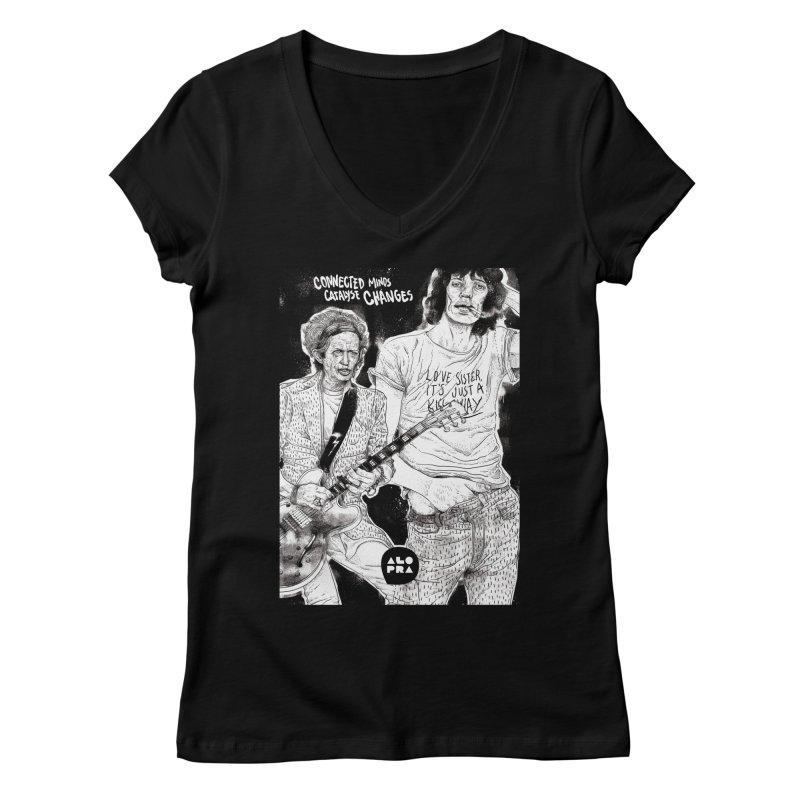 Alopra Studio`s Jagger and Richards | Connected Minds Catalyse Changes Women's V-Neck by Alopra's Shop