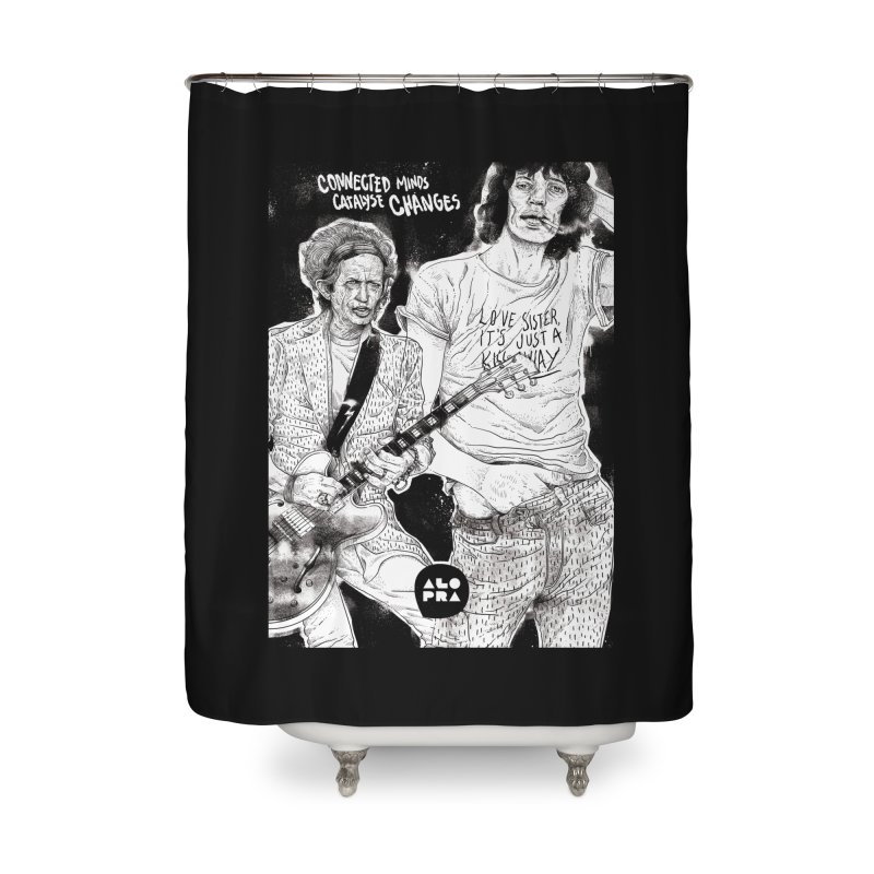 Alopra Studio`s Jagger and Richards | Connected Minds Catalyse Changes Home Shower Curtain by Alopra's Shop