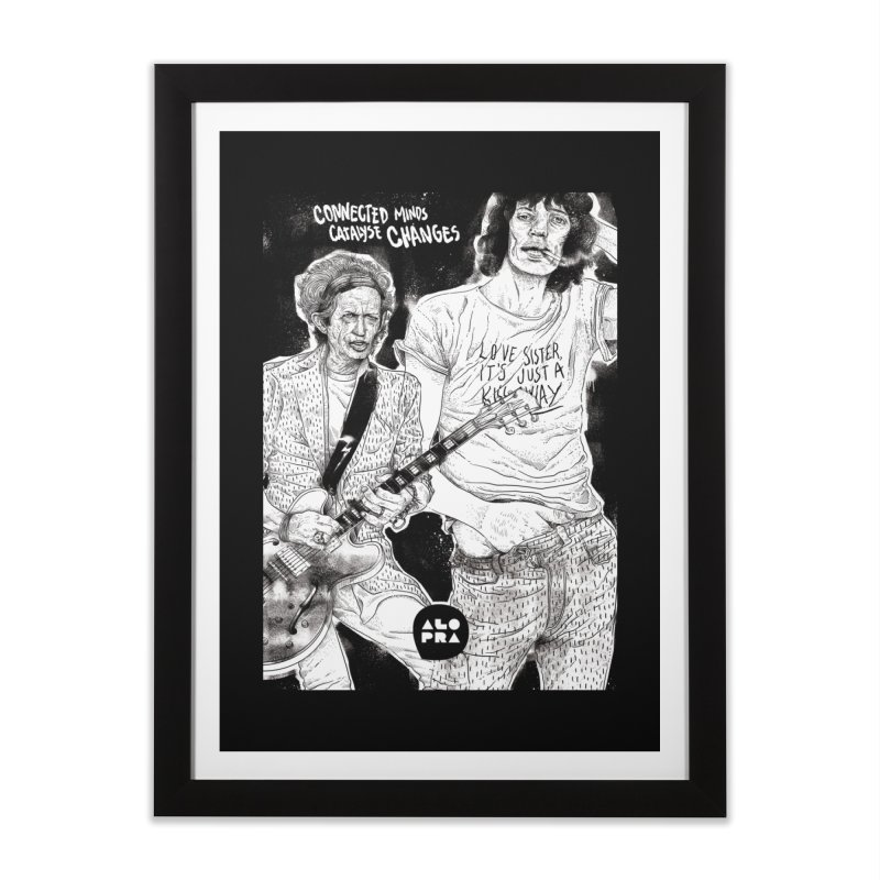 Alopra Studio`s Jagger and Richards | Connected Minds Catalyse Changes Home Framed Fine Art Print by Alopra's Shop