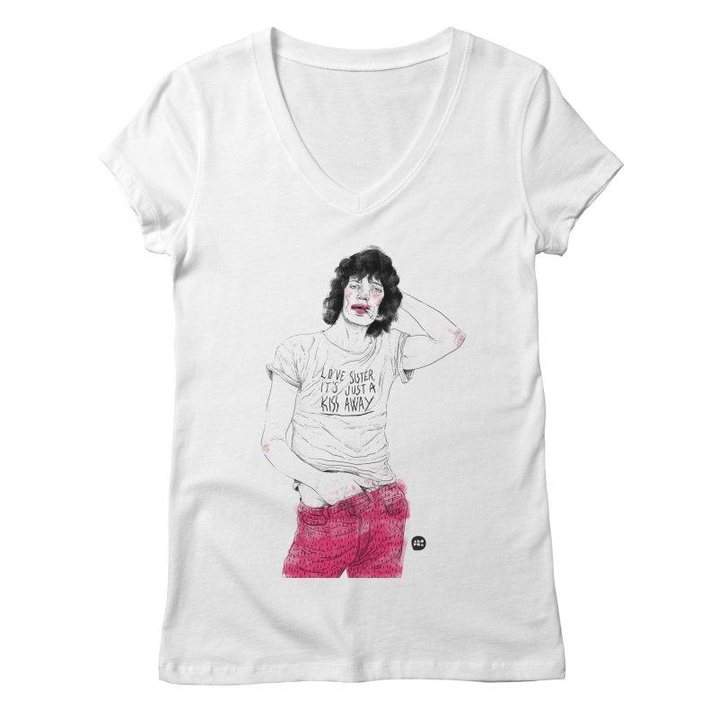 Alopra Studio`s Mick Jagger Women's V-Neck by Alopra's Shop