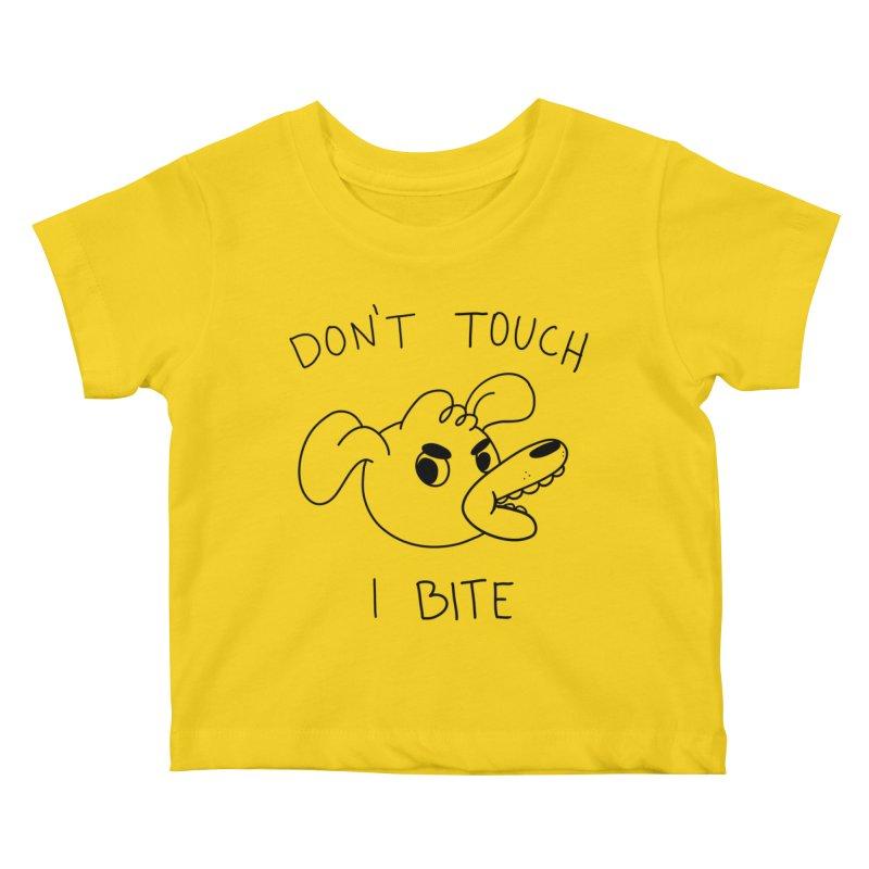 Don't touch, I bite! Kids Baby T-Shirt by Alpacaramba!