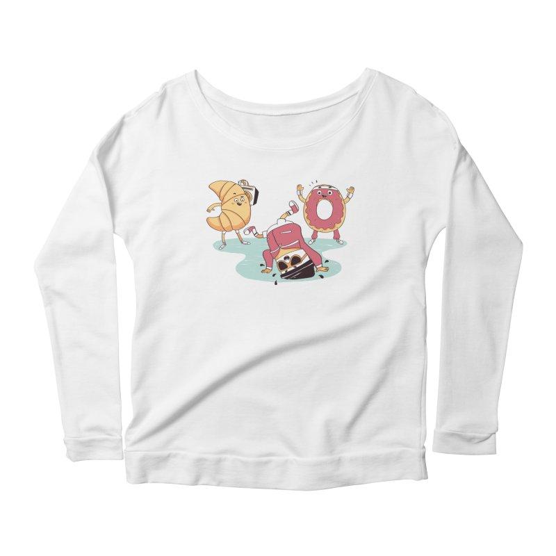 Coffee Break! Women's Scoop Neck Longsleeve T-Shirt by Alpacaramba!