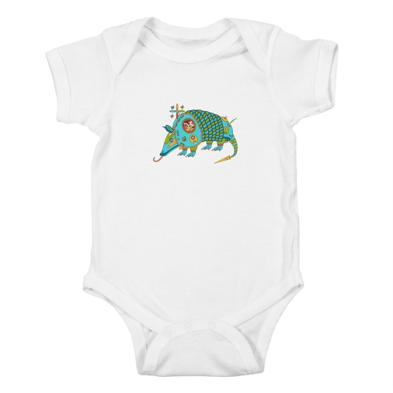 Armadillo, cool art from the AlphaPod Collection Kids Baby Bodysuit by AlphaPod