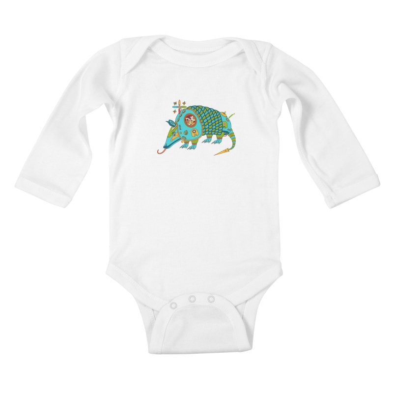 Armadillo, cool art from the AlphaPod Collection Kids Baby Longsleeve Bodysuit by AlphaPod
