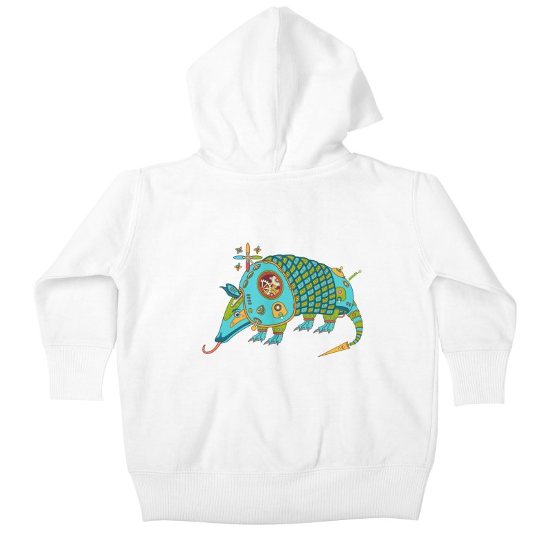 Armadillo, cool art from the AlphaPod Collection Kids Baby Zip-Up Hoody by AlphaPod