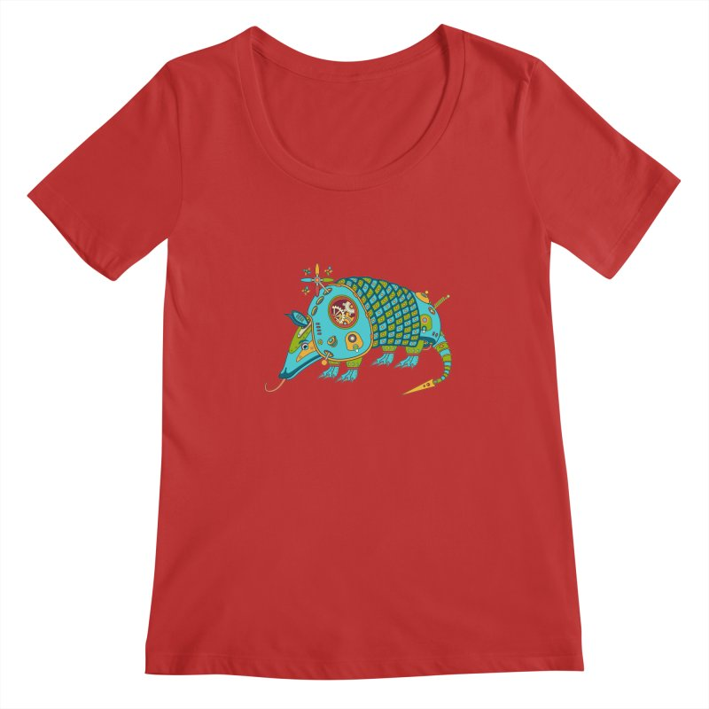 Armadillo, cool art from the AlphaPod Collection Women's Scoopneck by AlphaPod