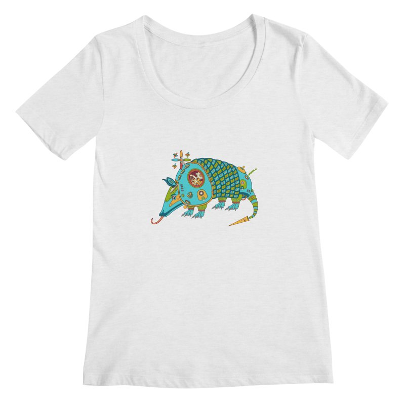 Armadillo, cool art from the AlphaPod Collection Women's Scoop Neck by AlphaPod